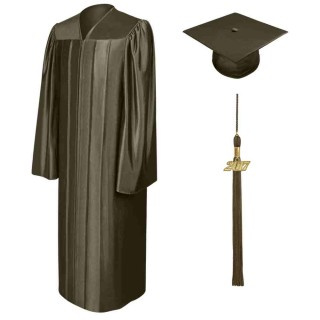 Shiny Brown High School Cap, Gown & Tassel