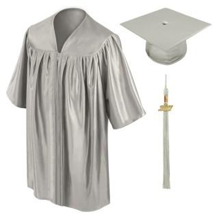 Silver Kindergarten Cap, Gown & Tassel