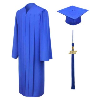 Matte Royal Blue Middle School  Cap, Gown & Tassel