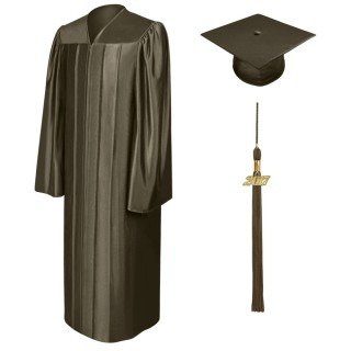 Shiny Brown Middle School Cap, Gown & Tassel