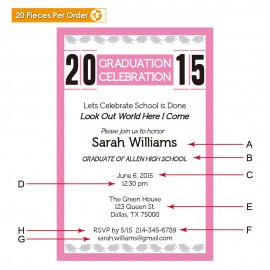 Juicy Pink High School Graduation Announcement