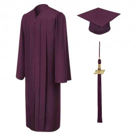 Matte Maroon High School Cap, Gown & Tassel