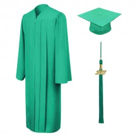 Matte Emerald Green High School  Cap, Gown & Tassel