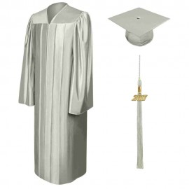 Shiny Silver High School  Cap, Gown & Tassel