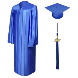 Shiny Royal Blue High School Cap, Gown & Tassel