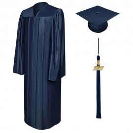 Shiny Navy Blue High School Cap, Gown & Tassel