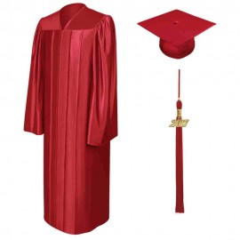 Shiny Red High School  Cap, Gown & Tassel