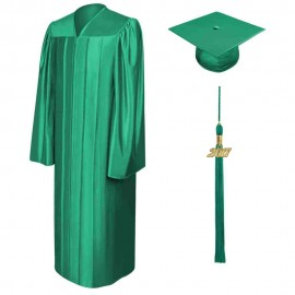 Shiny Emerald Green High School Cap, Gown & Tassel