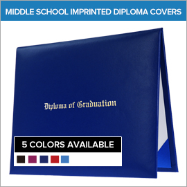 Middle School Imprinted and Printed Diploma Covers | Gradshop