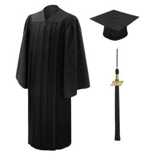 Deluxe Black Middle School Cap, Gown & Tassel