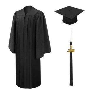 Deluxe Black Bachelor Academic Cap, Gown & Tassel