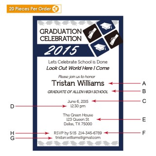 Navy Blue College Graduation Announcement