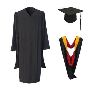 Classic Masters Graduation Cap, Gown, Tassel & Hood Package