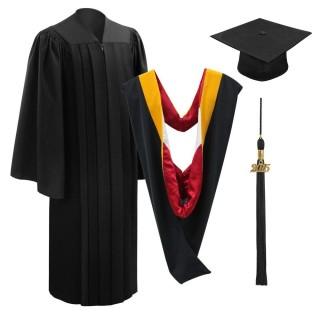 Deluxe Black Bachelor Cap, Gown, Tassel & Hood