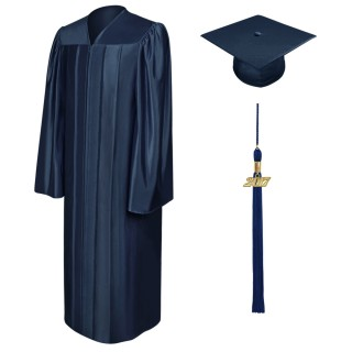 Shiny Navy Blue Elementary Cap, Gown & Tassel