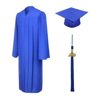 Matte Royal Blue Bachelor Academic Cap, Gown & Tassel
