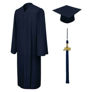 Matte Navy Blue Bachelor Academic Cap, Gown & Tassel