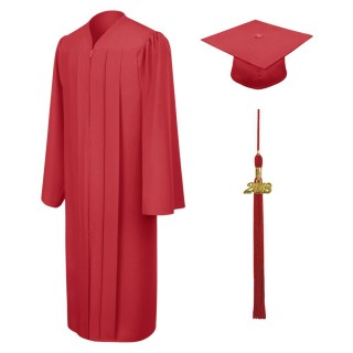 Matte Red Bachelor Cap, Gown & Tassel
