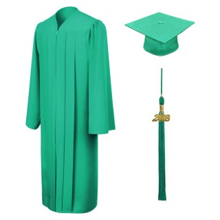 Matte Emerald Green Bachelor Academic Cap, Gown & Tassel