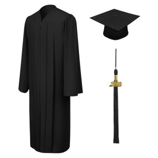 Matte Black Bachelor Academic Cap, Gown & Tassel