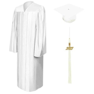 Shiny White High School Cap, Gown & Tassel