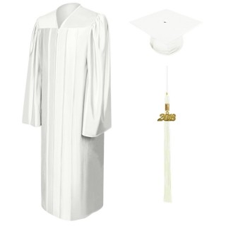 Shiny White Bachelor Academic Cap, Gown & Tassel