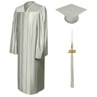 Shiny Silver Bachelor Cap, Gown & Tassel
