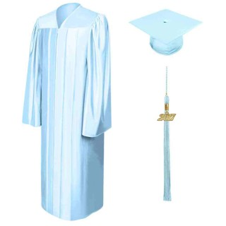 Shiny Light Blue High School Cap, Gown & Tassel
