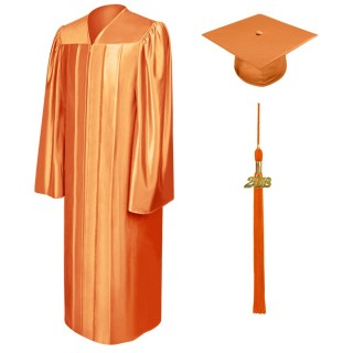 Shiny Orange Bachelor Academic Cap, Gown & Tassel