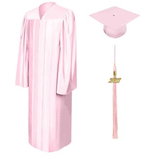Shiny Pink High School Cap, Gown & Tassel