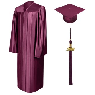Shiny Maroon Bachelor Academic Cap, Gown & Tassel
