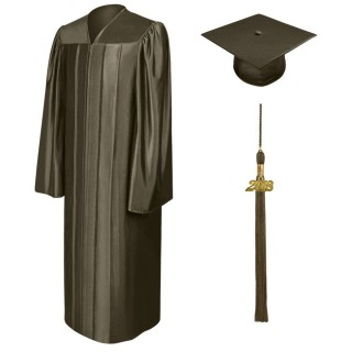 Shiny Brown Bachelor Cap, Gown & Tassel