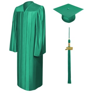 Shiny Emerald Green Bachelor Academic Cap, Gown & Tassel