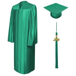 Shiny Emerald Green Bachelor Academic Cap, Gown & Tassel
