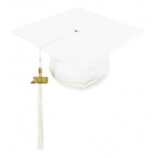 Shiny White Middle School Cap & Tassel
