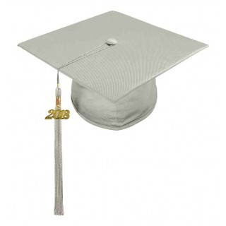 Shiny Silver Middle School Cap & Tassel