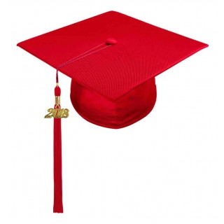 Shiny Red High School Cap & Tassel