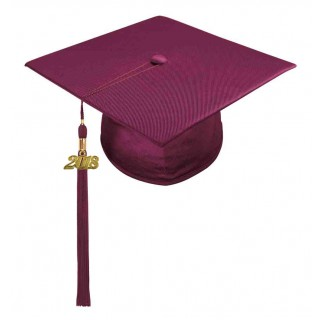 Shiny Maroon High School Cap & Tassel