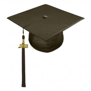 Shiny Brown Middle School Cap & Tassel