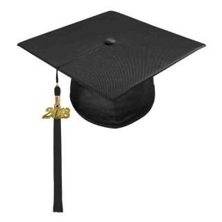Shiny Black High School Cap & Tassel