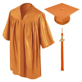 Orange Kindergarten Cap, Gown & Tassel