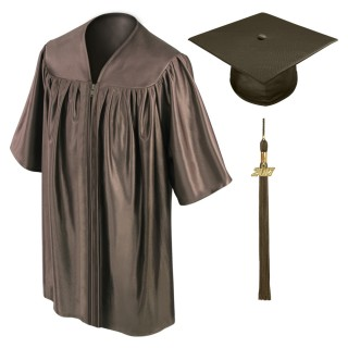 Brown Kindergarten Cap, Gown & Tassel