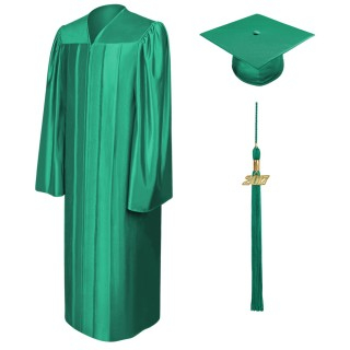 Shiny Emerald Green Middle School Cap, Gown & Tassel