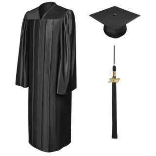 Shiny Black Middle School Cap, Gown & Tassel
