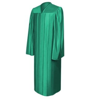 Shiny Emerald Green Elementary Gown