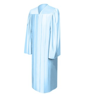 Shiny Light Blue High School Gown
