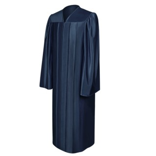 Shiny Navy Blue High School Gown