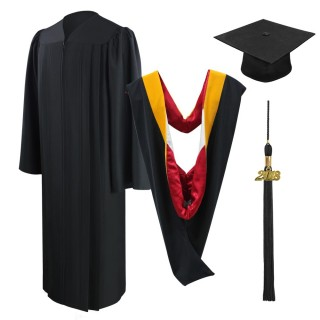 Eco-Friendly Black Bachelor Academic Cap, Gown, Tassel & Hood
