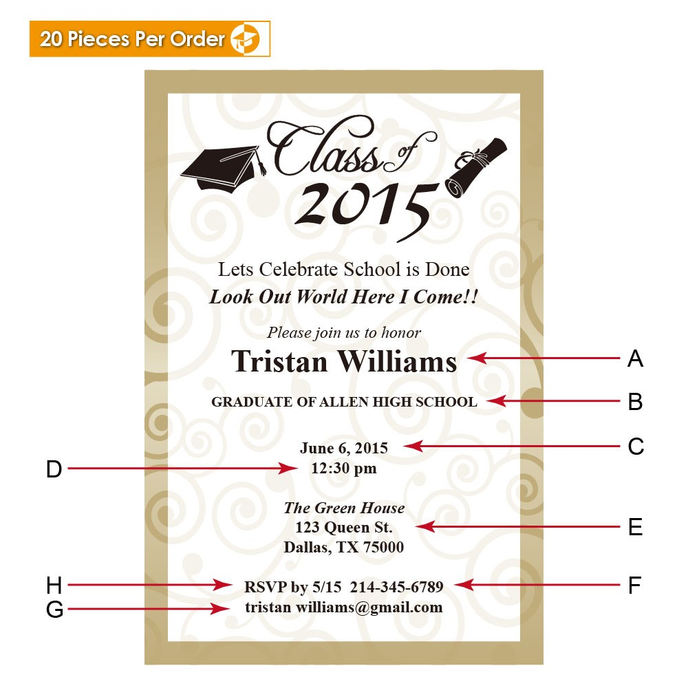 Elegant College Graduation Announcement Gradshop