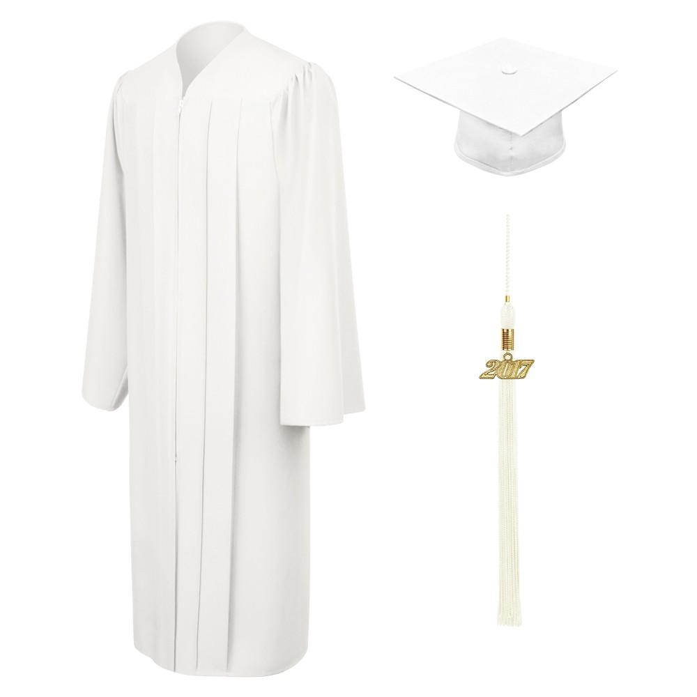 Matte White Elementary Cap, Gown & Tassel | Gradshop